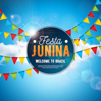 Festa junina illustration with party flags and blue cloudy sky