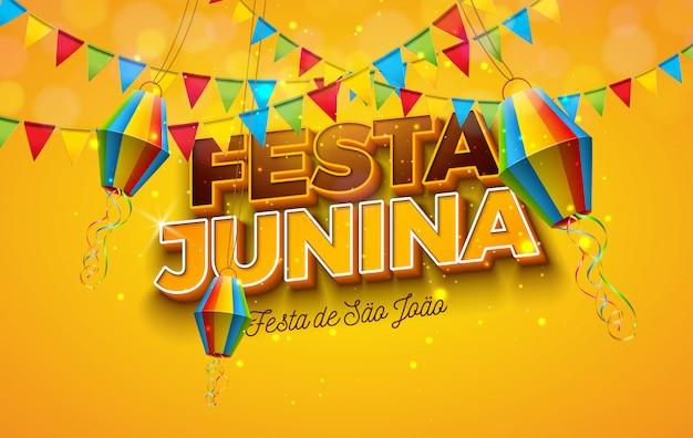 Иллюстрация festa junina с флагами партии, бумажным фонариком и письмом 3d на желтой предпосылке. фестиваль дизайна в июне в бразилии для поздравительной открытки, приглашения или праздничного плаката.