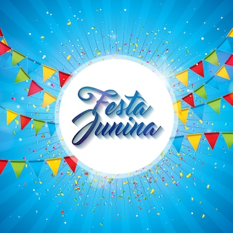 Festa junina illustration with party flags and paper lantern on blue background.