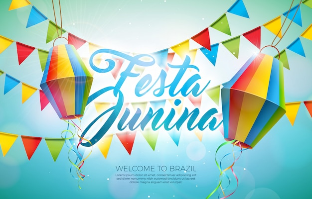 Festa junina illustration with party flags and paper lantern