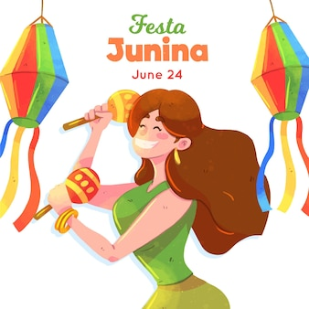 Festa junina illustration with woman and maracas