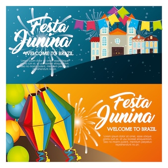 Festa junina infographic with town landscape and lanterns vector illustration
