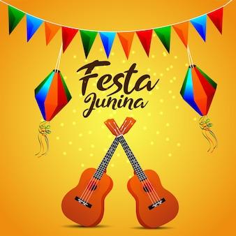 Пригласительный билет festa junina с творческим красочным партийным флагом, бумажным фонарем и гитарой