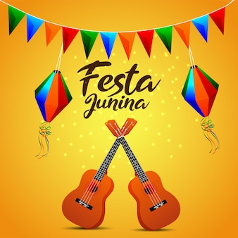 Festa junina invitation card with creative colorful party flag and paper lantern and guitar