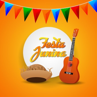 Festa junina invitation cards with guitar and hat