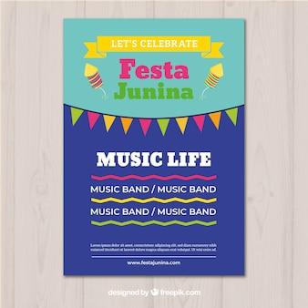 Festa junina invitation flyer in flat style