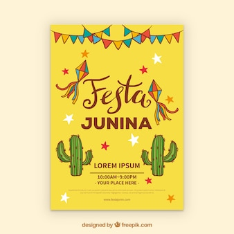 Festa junina invitation flyer with cactus and elements