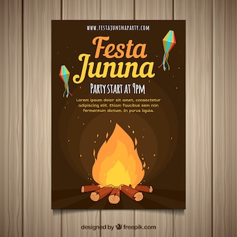 Festa junina invitation flyer with campfire at night