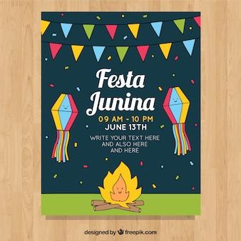 Festa junina invitation flyer with campfire at night