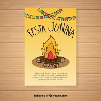 Festa junina invitation flyer with campfire