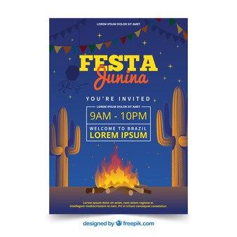 Festa junina invitation flyer with celebration at night