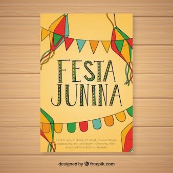 Festa junina invitation flyer with colorful pennants