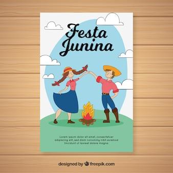 Festa junina invitation flyer with couple dancing