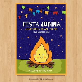 Festa junina invitation flyer with cute campfire