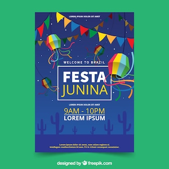 Festa junina invitation flyer with fieldat night
