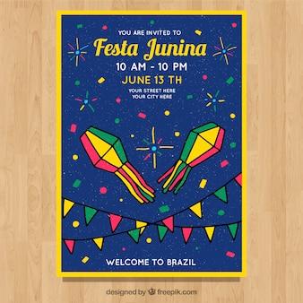 Festa junina invitation flyer with fireworks