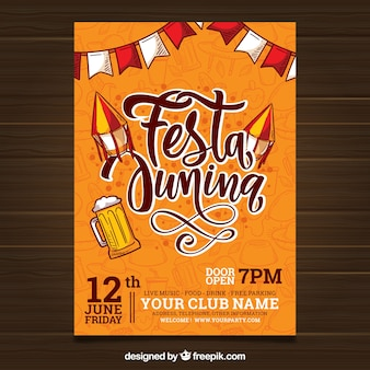 Festa junina invitation flyer with lettering