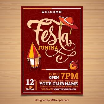 Festa junina invitation flyer with lettering