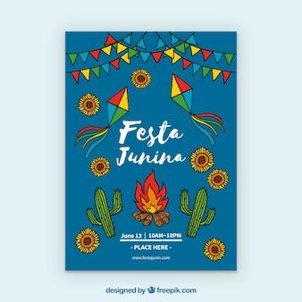 Festa junina invitation flyer with traditional elements