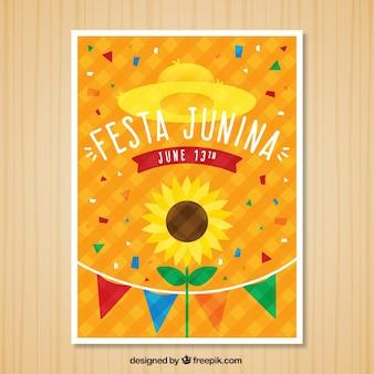 Festa junina invitation with confetti and sunflower