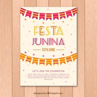 Festa junina leaflet template with garlands