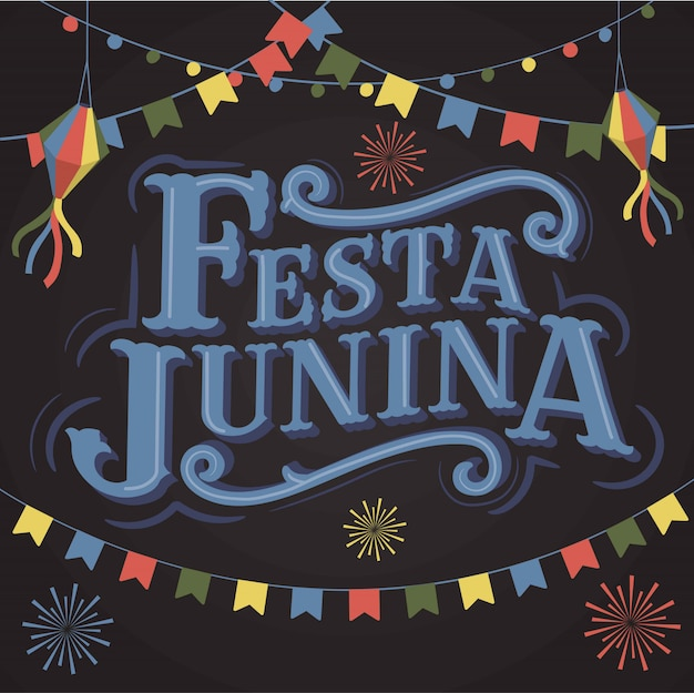 Festa junina old school vintage классический фон надписи шрифта