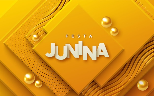 Festa junina paper sign on abstract orange background with golden patterns and spheres