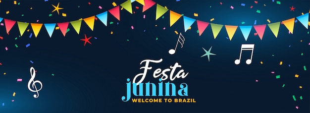 Festa junina party celebration music banner