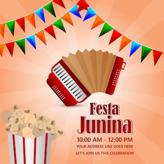 Festa junina party event with party flag and paper lantern