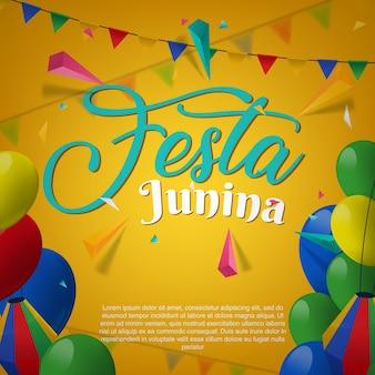 Festa junina party greeting design illustration