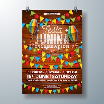 Festa junina party poster template design with flags and paper lantern