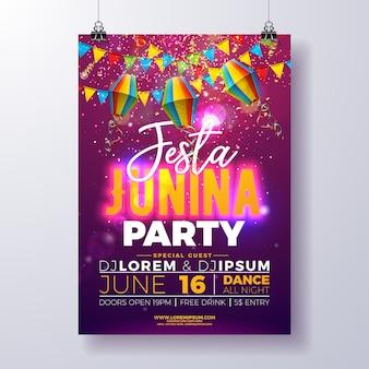 Шаблон плаката festa junina party с флагами и бумажным фонарем