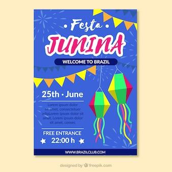 Festa junina poster invitation in flat style