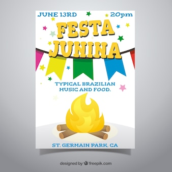 Festa junina poster invitation with campfire in flat style