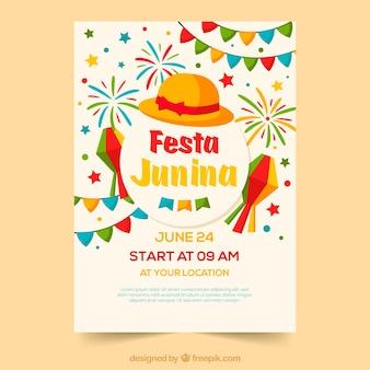 Festa junina poster invitation with colorful elements