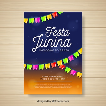 カラフルなペナントのフェスタジュニアポスター招待状