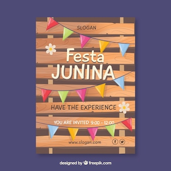 Festa junina poster invitation with colorful pennants