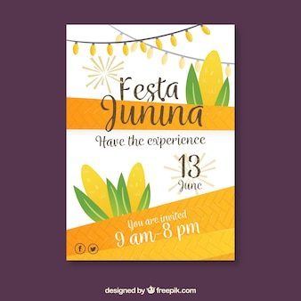 Festa junina poster invitation with corn in flat style