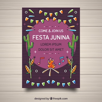 Festa junina poster invitation with different elements