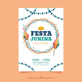 Festa junina poster invitation with elements in flat style