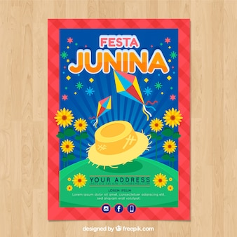 Festa junina poster invitation with field and sunflowers