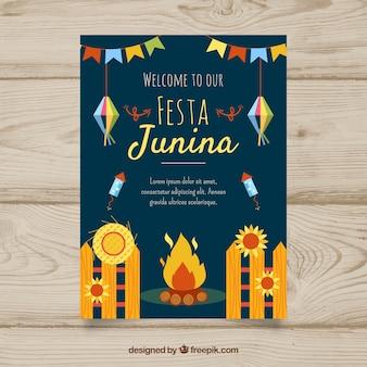 Festa junina poster invitation with flat elements