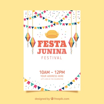 Festa junina poster invitation with flat elements