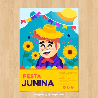 Festa junina poster invitation with happy man