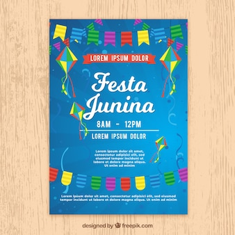 Festa junina poster invitation with party elements