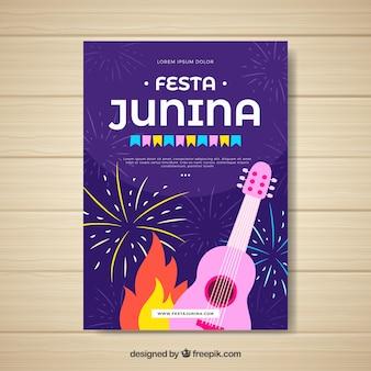Festa junina poster invitation with pink guitar