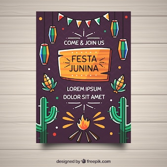 Festa junina poster invitation with traditional elements