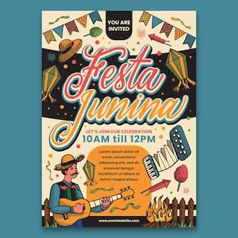 Festa junina poster template concept
