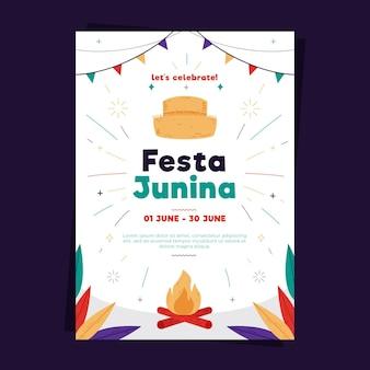 Шаблон плаката festa junina в плоском дизайне