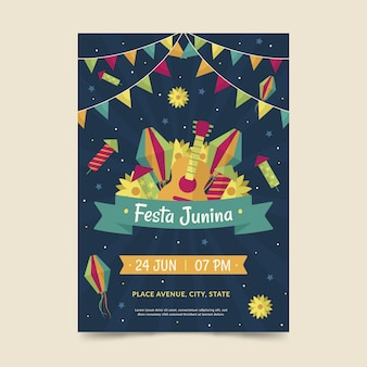 Festa junina poster template theme
